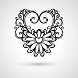 Coeur floral de Deco de vecteur sur Gray Background Photographie stock