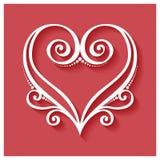 Coeur floral de Deco de vecteur sur le fond rouge illustration libre de droits