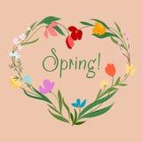 Coeur floral de ressort avec les fleurs colorées Photos stock