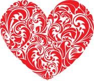 Coeur floral ornemental rouge sur le fond blanc.  Photos stock