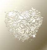 Coeur floral sur le fond de perle Photographie stock