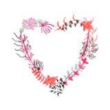 Coeur floral tiré par la main Photo libre de droits