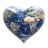 Coeur - fond du monde Photo libre de droits