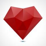 Coeur géométrique rouge abstrait - illustration de vecteur Photographie stock