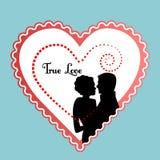 Coeur graphique avec des couples Photos stock