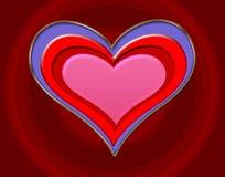Coeur gravé en relief Images libres de droits