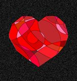Coeur gris et rouge illustration stock