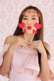Coeur heureux candy2 du vanlentine deux de femme Image libre de droits