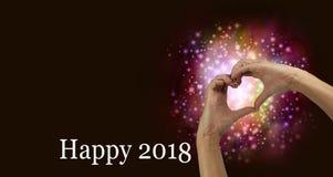Coeur 2018 heureux de main Photographie stock libre de droits