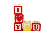 Coeur I vous sur le blanc avec le chemin L disposé Image stock