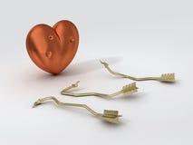 Coeur intense et flèches cassées Photographie stock libre de droits