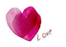 Coeur, intersection de coeur du symbole deux d'amour avec l'aquarelle, illustration de vecteur Image stock