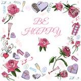 Coeur inverti fait de fleurs roses avec les feuilles, la sucrerie et d'autres différents éléments Calibre pour la carte de voeux  illustration de vecteur