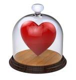 Coeur irréfutable dans un cas en verre Photographie stock