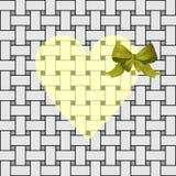 Coeur jaune avec un arc vert Photos stock