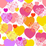 Coeur jaune rouge lilas orange rose avec le modèle sans couture de coeur de point de polka sur le fond blanc Vecteur Images stock
