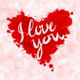 Coeur, je t'aime, éclaboussure colorée de peinture Image libre de droits
