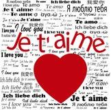 Coeur   Je t'aime dans les langues Images stock