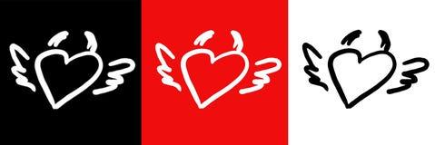 Coeur-klaxon-ailes Photo libre de droits
