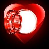 Coeur léger de coffre-fort de porte ouverte Photographie stock libre de droits
