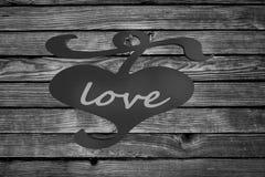 Coeur le Saint Valentin en bois de backgroun d'amour de barrière Images libres de droits