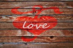Coeur le Saint Valentin en bois de backgroun d'amour de barrière Photographie stock
