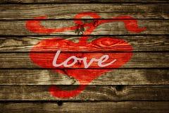 Coeur le Saint Valentin en bois de backgroun d'amour de barrière Photographie stock libre de droits