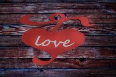 Coeur le Saint Valentin en bois de backgroun d'amour de la barrière 3d Images libres de droits