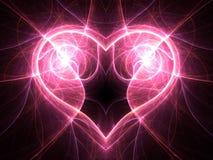 Coeur lumineux de courant électrique sur le fond noir Photo stock
