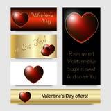 Coeur lumineux rouge, design de carte de Saint-Valentin Images stock