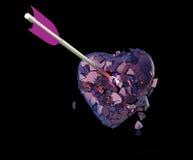 Coeur métallique brillant cassé avec la flèche Photographie stock