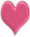 Coeur métallique rose gravé en relief Photo stock