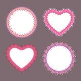 coeur mignon de frontière de la dentelle 4 et labels ronds Images stock