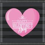 Coeur mignon de valentines de jour de rose heureux de carte et fond foncé Photographie stock libre de droits