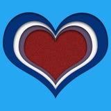 Coeur multicolore avec le noyau de scintillement rouge, coupe de papier illustration stock