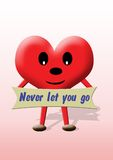 Coeur : ne vous laissez jamais vont Photo stock