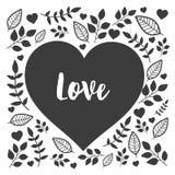 Coeur noir avec amour tiré par la main de signe de nature Coeur floral Photographie stock libre de droits