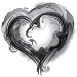 Coeur noir et blanc Photos stock