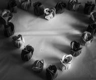 Coeur noir et blanc des roses Photo stock