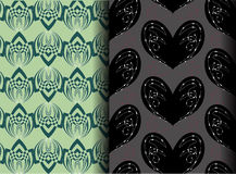 Coeur noir et modèle vert de lotus Photos libres de droits