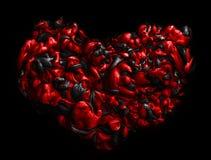 Coeur noir et rouge texture d'encre acrylique abrégez le fond Image libre de droits