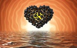 Coeur noir fait de sphères avec des réflexions d'isolement sur le lac lumineux spiral de fond et de waterscape heureux illustration libre de droits