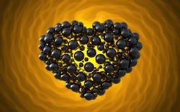 coeur noir fait de sphères avec des réflexions sur le fond lumineux spiral Illustration heureuse du jour de valentines 3d Photos stock