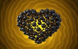 coeur noir fait de sphères avec des réflexions sur le fond lumineux spiral Illustration heureuse du jour de valentines 3d Photo stock