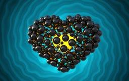 coeur noir fait de sphères avec des réflexions sur le fond lumineux spiral Illustration heureuse du jour de valentines 3d Image libre de droits