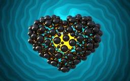 coeur noir fait de sphères avec des réflexions sur le fond lumineux spiral Illustration heureuse du jour de valentines 3d Photo libre de droits