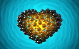 coeur noir fait de sphères avec des réflexions sur le fond lumineux spiral Illustration heureuse du jour de valentines 3d Photographie stock libre de droits