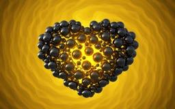 coeur noir fait de sphères avec des réflexions sur le fond lumineux spiral Illustration heureuse du jour de valentines 3d Image stock