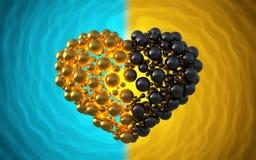 coeur noir fait de sphères avec des réflexions sur le fond lumineux spiral Illustration heureuse du jour de valentines 3d Images stock