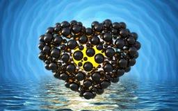 coeur noir fait de sphères avec des réflexions sur le lac lumineux spiral de fond et de waterscape Jour de valentines heureux 3d  Images libres de droits
